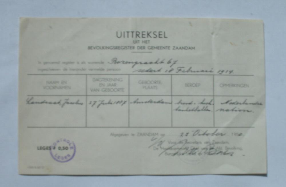 (GENEALOGIE) - Jacobus Landzaat. Uittreksel uit het bevolkingsregister der gemeente Zaandam.