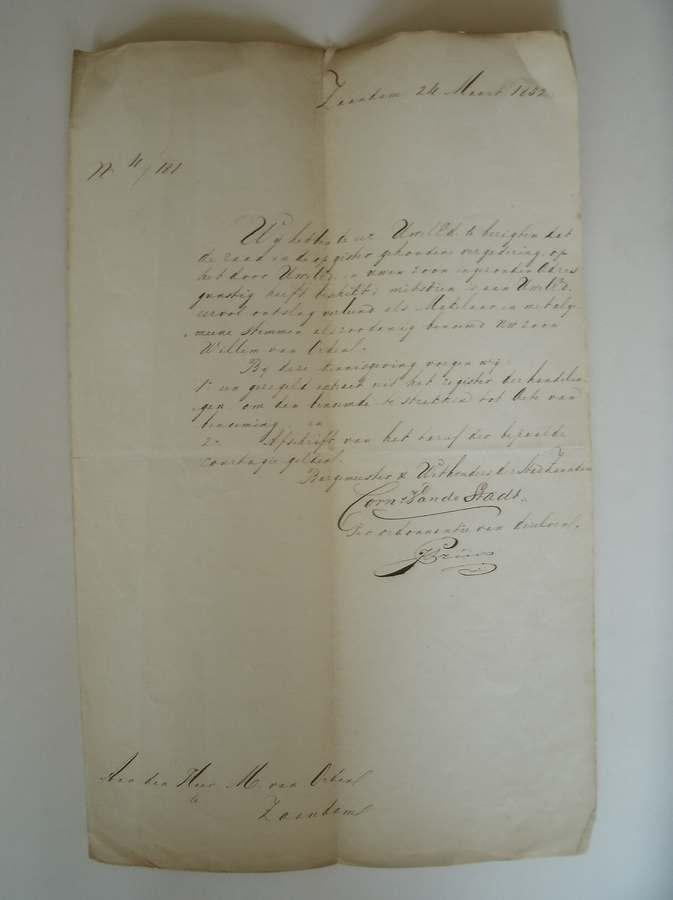 (GENEALOGIE, ZAANSTREEK). - (van Orden family). Brief van de raad van Zaandam dat zij met algemene stemmen Meindert van Orden ontslag verlenen als makelaar,