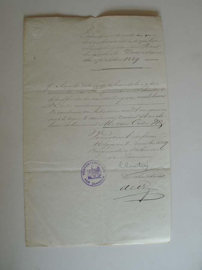 (GENEALOGIE, ZAANSTREEK). - (van Orden family). Extract uit de registers der handelingen van den gemeente raad te Zaandam.