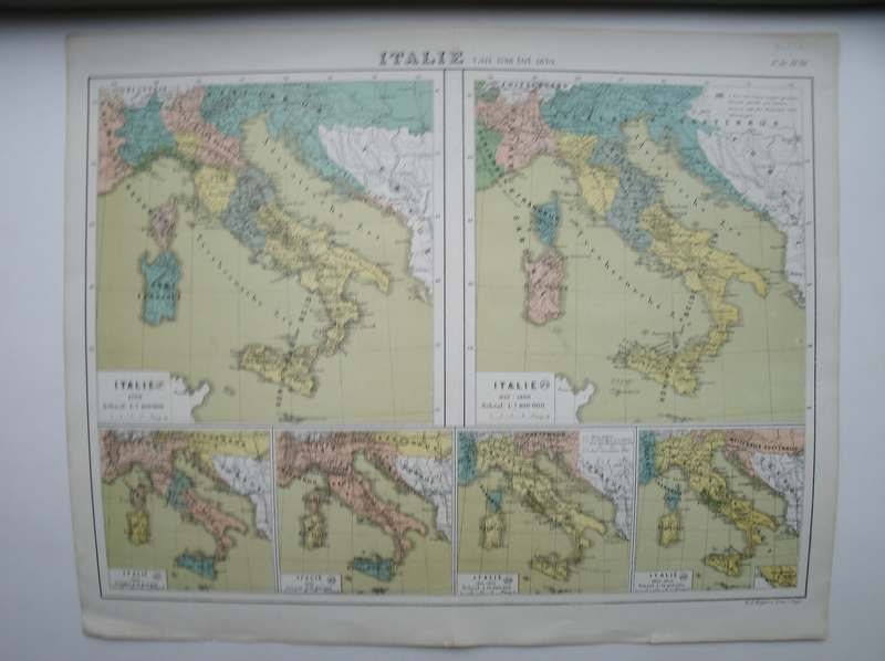 antique map (kaart). - Italie van 1798 tot