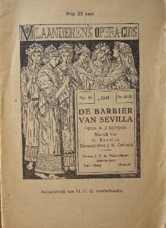 RED. - De Barbier van Sevilla. Vlaanderen`s operagids nr. 46.