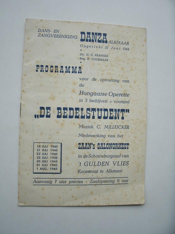 RED. - Operettevereniging Danza Alkmaar. Programma Hongaarse Operette De Bedelstudent.
